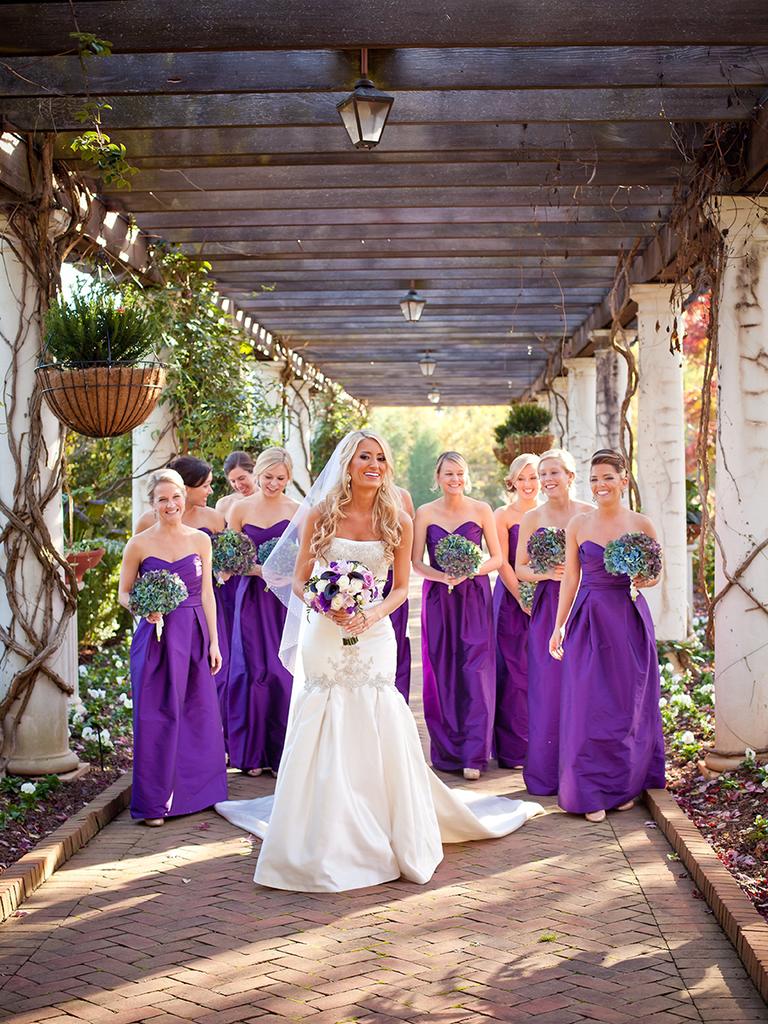 strapless long bridesmaid dresses purple