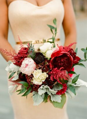 Bouquet with Peonies, Astilbe, Roses, Hydrangeas and Scabiosa