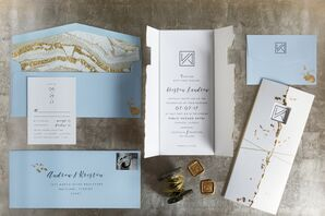 Modern Blue and Gold Marble Invitation Suite