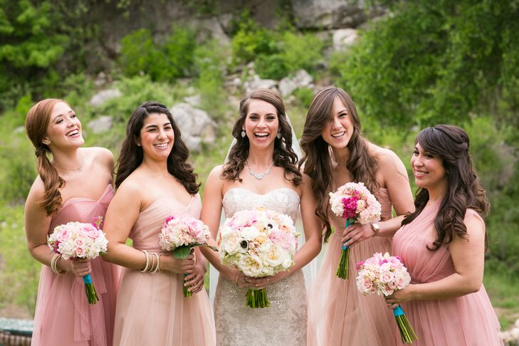 Mismatched Pink Bridesmaid Dresses