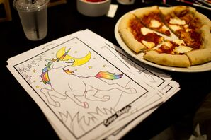 Coloring Book and Pizza for Kids