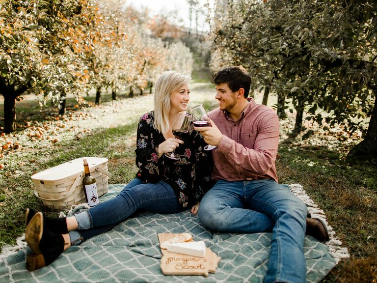 picnic themed engagement photo shoot