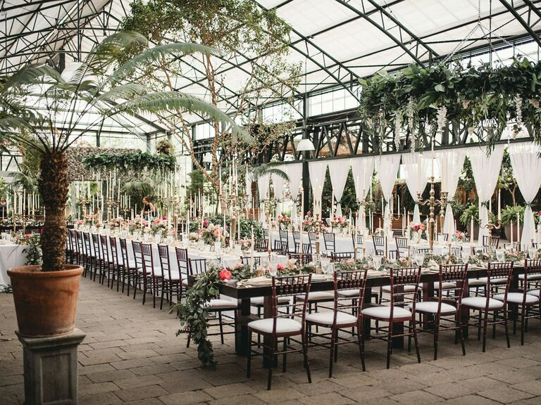Lush wedding reception space