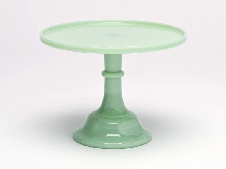 Jade-colored glass pedestal stand