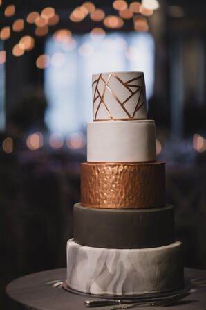 Modern Copper, Silver and Marble Fondant Cake