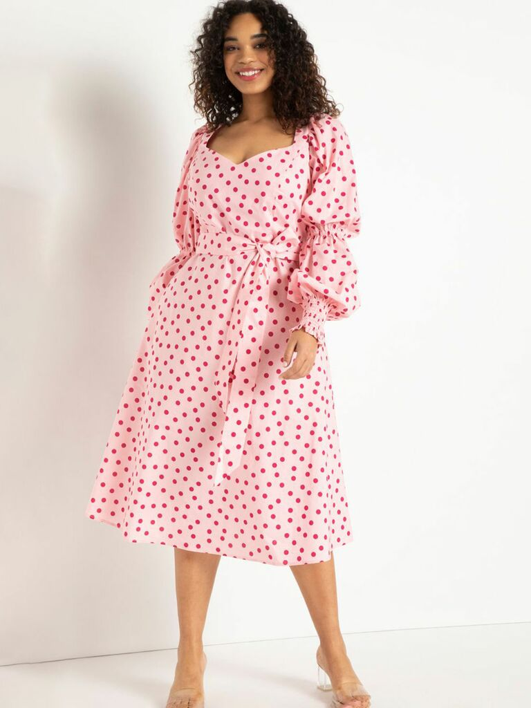 pink printed midi dress with puff sleeves