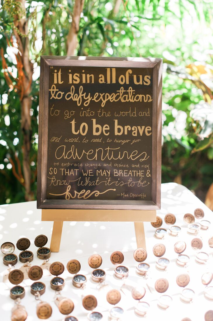 Ashleigh and Alex brought a lot of personalized DIY elements into their wedding, weaving their love of adventure and travel into the details.