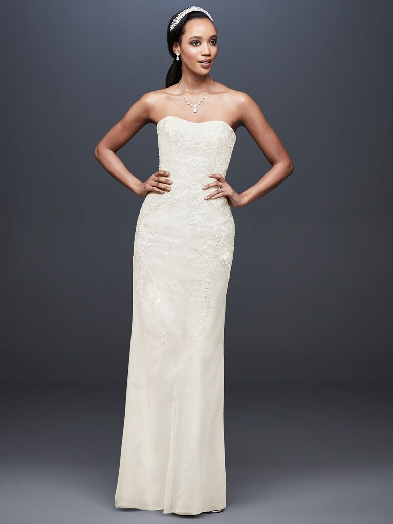 a65efc34183a Galina Signature Spring 2019 simple column wedding dress with vine  embroidery
