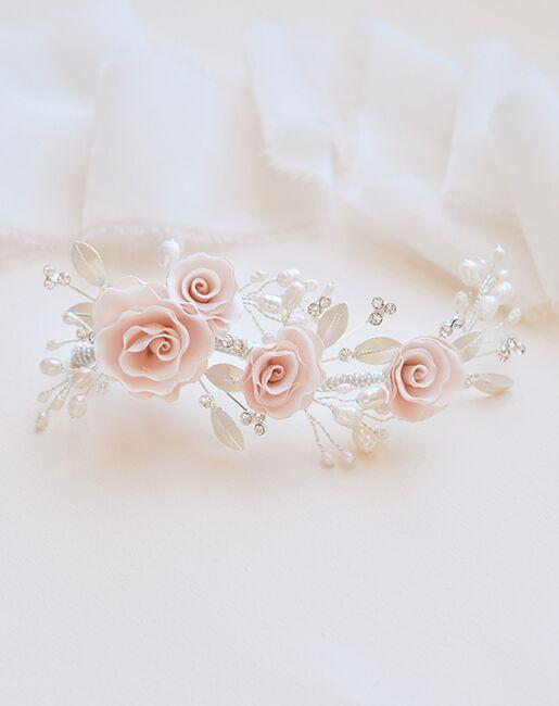 Dareth Colburn Blush Pink Flower Comb (TC-2307) Ivory, Pink, Silver Pins, Combs + Clip