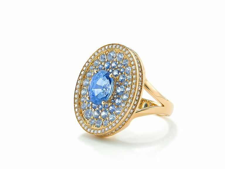 Robinson Pelham blue engagement ring