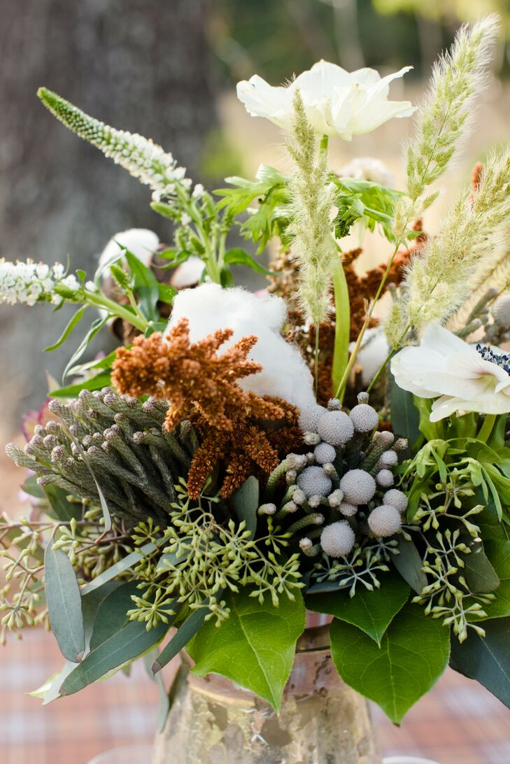 Rustic Cotton, Silver Brunia and Wheat Floral Arrangements