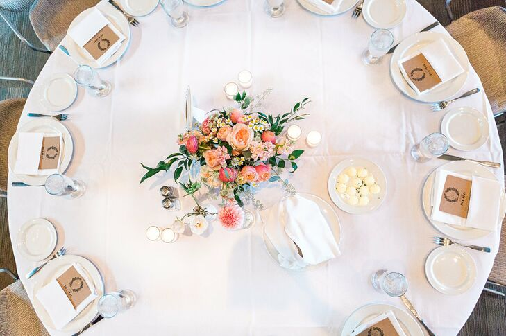 Romantic Pink and Green Centerpiece with Garden Roses