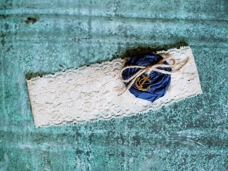 Nautical wedding garter