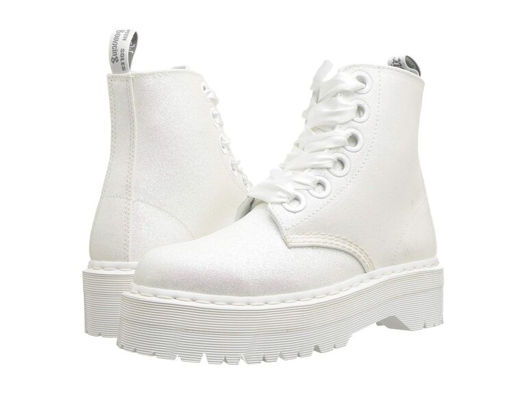 Sparkly white Dr. Martens boots for bride