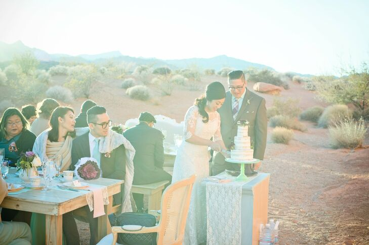 After a church ceremony in Las Vegas, the newlyweds brought a few close family members and friends to Seven Sisters at Valley of Fire State Park in Overton, Nevada, for cake, coffee and unforgettable views.