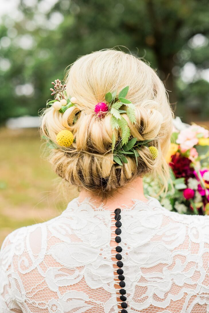 Boho Updo with Yellow Craspedia and Foliage
