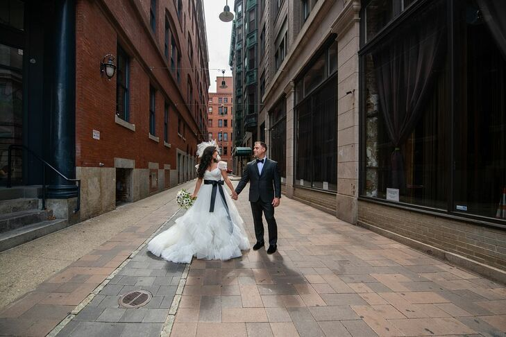 """Amy DeBlasio and Brandon Grandmaison didn't choose a specific theme for their wedding, but they went against tradition in many aspects. """"We wanted to"""