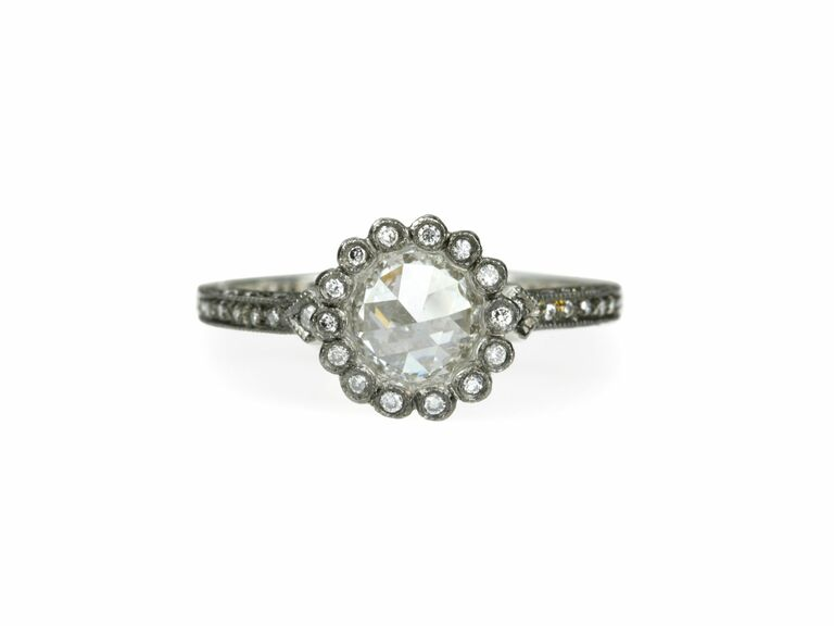 rose cut engagement ring with scalloped halo in platinum