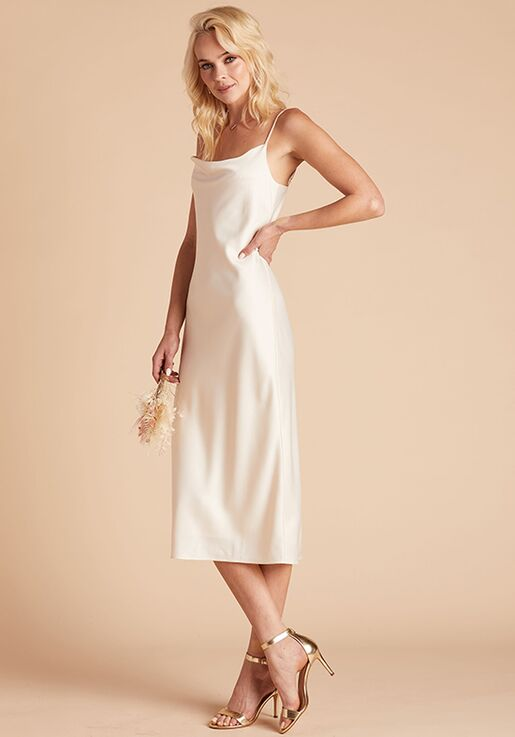 Birdy Grey Lisa Satin Midi Dress in Champagne Scoop Bridesmaid Dress