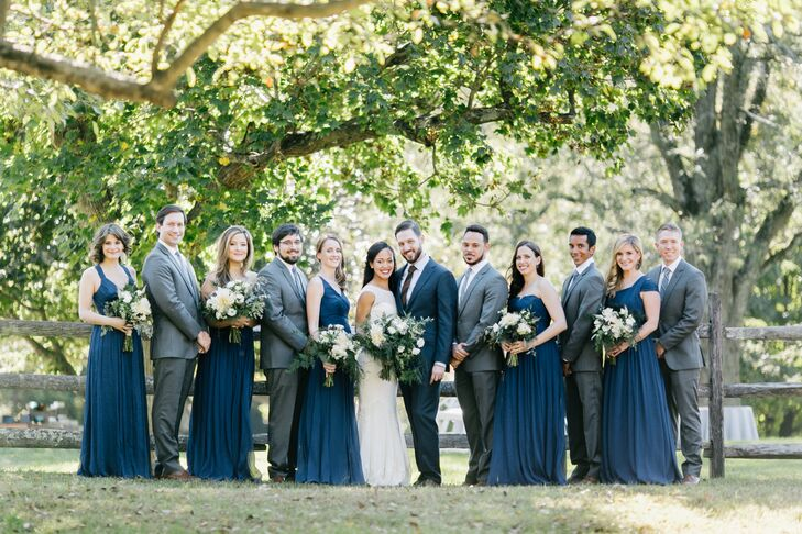 Navy Bridesmaid Dresses and Gray Groomsmen Suits