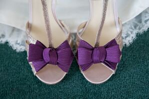 Silver Shoes With Purple Bows