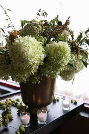 Rustic Green Hydrangea and Hops Arrangement