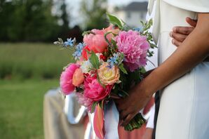 Colorful Peony Bouquet for Minimony at Hope Flower Farm in Waterford, Virginia