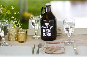 Rustic Brown and White Beer Growler Table Numbers