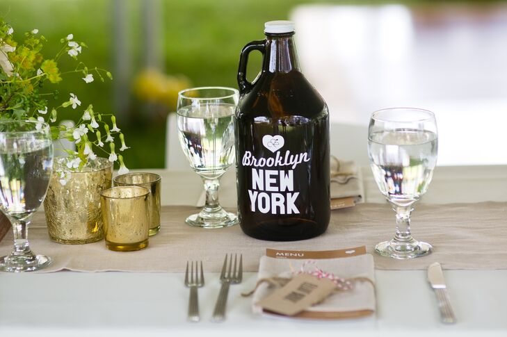 The tables were numbered with glass beer growlers labeled with meaningful locations to the couple. Brooklyn, New York, was where they met.