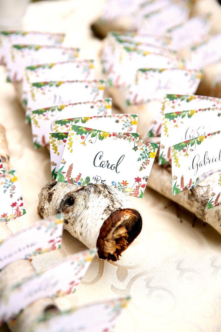 Floral Escort Cards in Birch Logs
