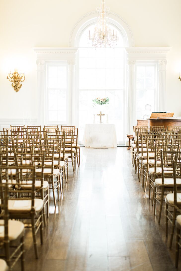 """Tall ceilings and large windows created a sunlit, airy space for the ceremony. """"The room was so beautiful on its own it did not require much decorating,"""" Bonnie says."""