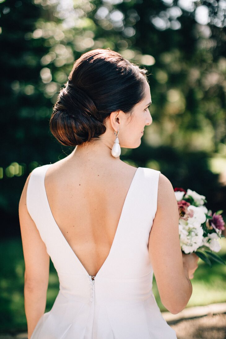 Classic Updo and Pearl Drop Earrings
