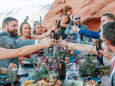 a relaxed desert wedding reception dinner