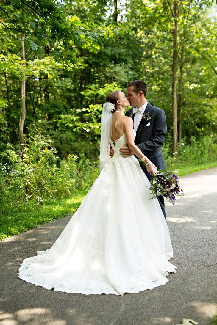 Strapless Lace Wedding Dress with Full Train