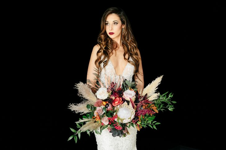 Bold Pampas Grass and Protea Wedding Bouquet