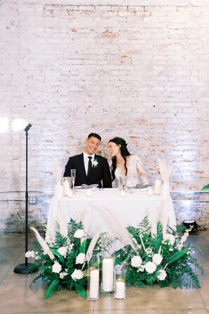Modern, Industrial Sweetheart Table with Candles and Greenery