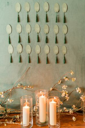 Green Escort Card Display for Wedding at The Woodstock Inn and Resort in Vermont