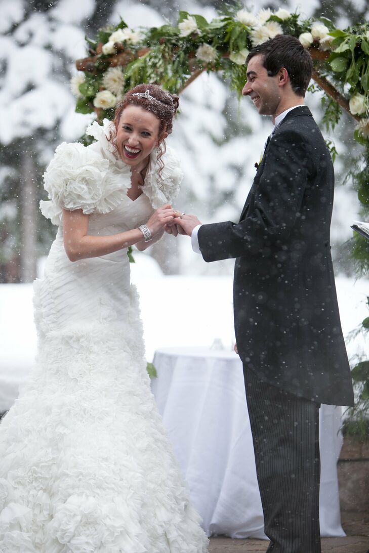 Chiffon Enzoani Wedding Gown