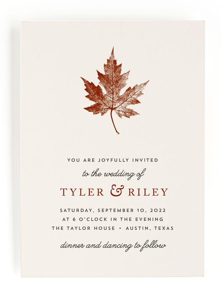 Simple fall wedding invitation