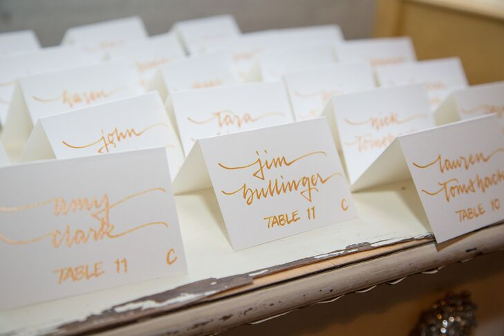 Gold-and-White Calligraphy Escort Cards