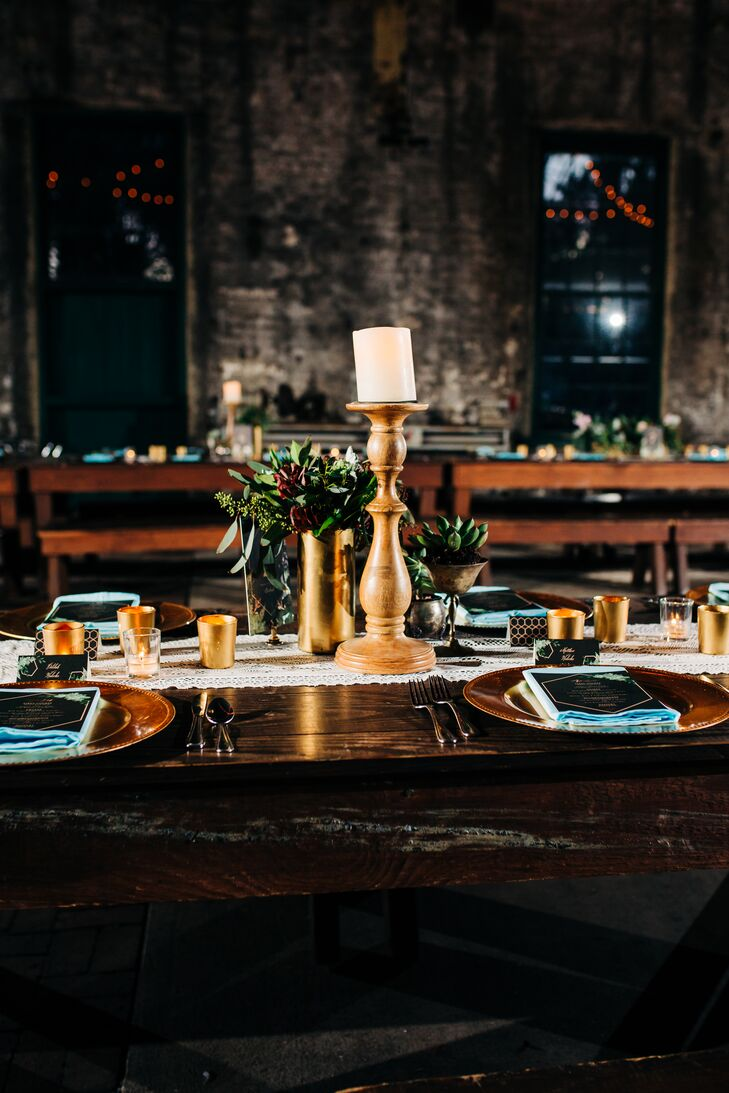 Moody Reception with Candles and Succulents