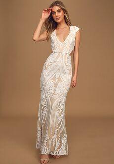 Lulus Always Adored White and Nude Sequin Mermaid Maxi Dress Mermaid Wedding Dress