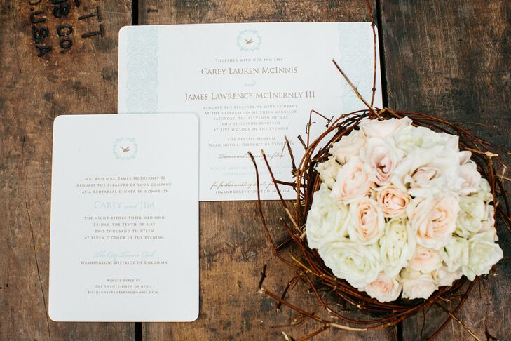 Carey is a self-described avid birder, so she wanted bird accents throughout the day. Swallow silhouettes were included on the stationery, and nests full of flowers served as centerpieces during the cocktail hour.