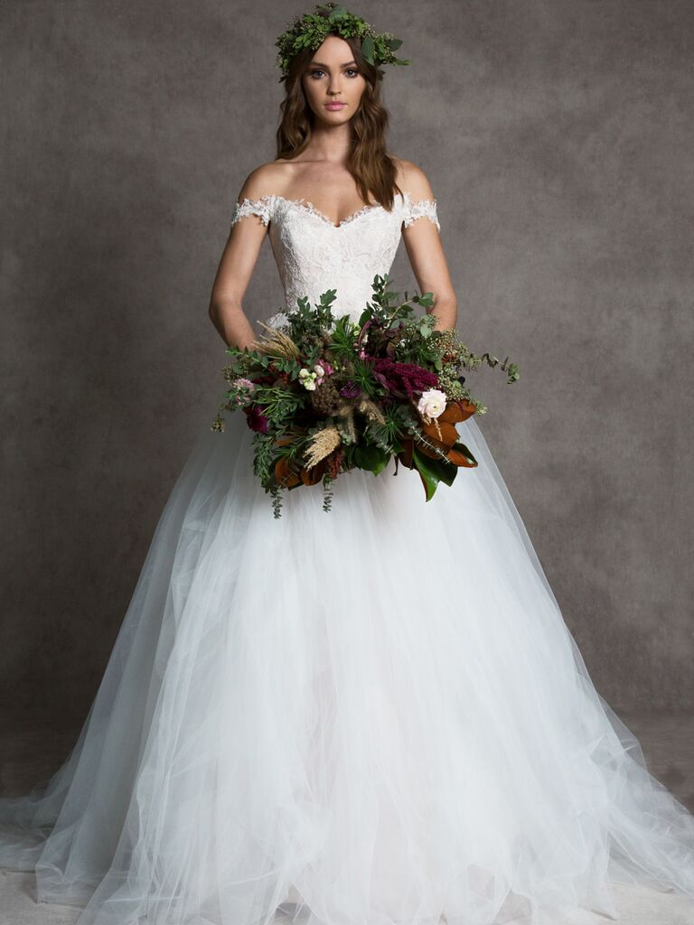 Romona New York Fall 2019 wedding dress with a tulle ball skirt and lace off-the-shoulder bodice