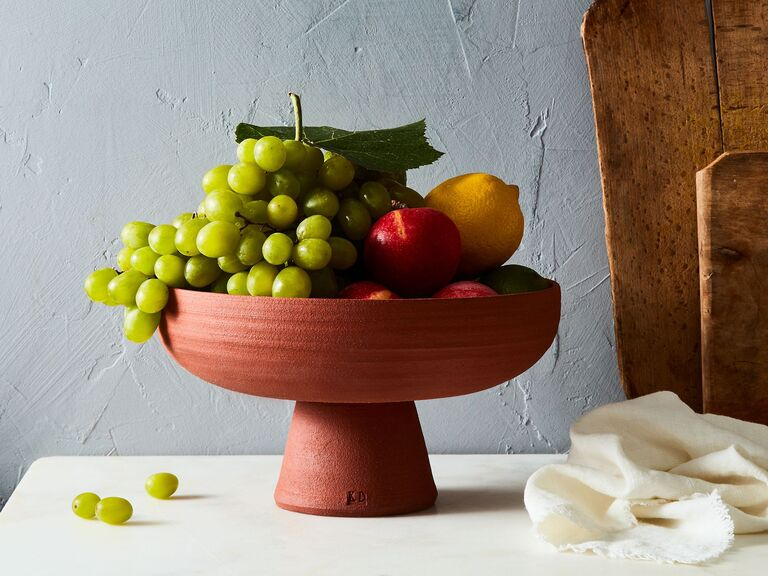 Gorgeous clay fruit bowl filled with fruit