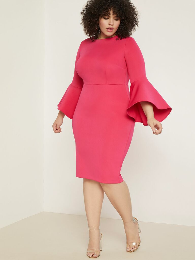 Flare Sleeve Scuba midi dress in hot pink