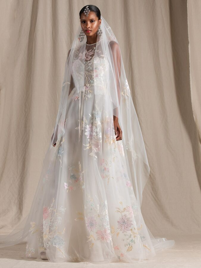 Naeem Khan tulle wedding dress with pastel floral embroidery
