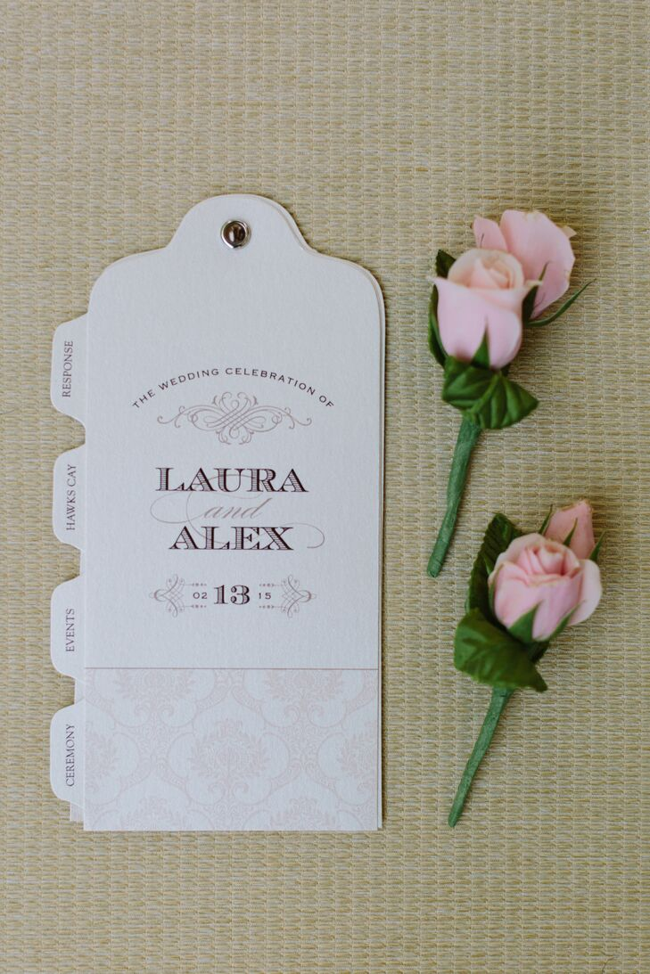 Pink and White Program with Pink Boutonnieres