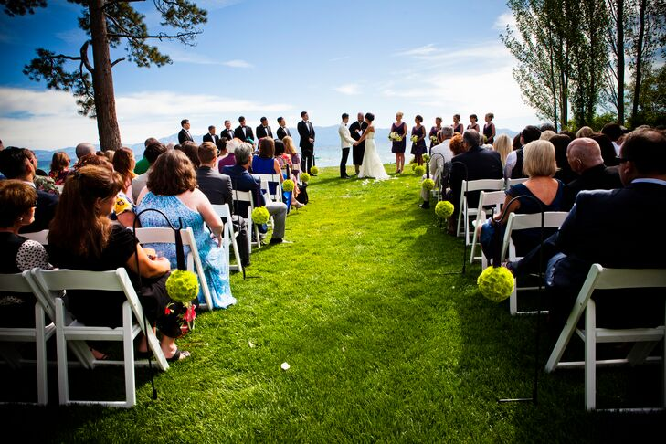 """The couple dreamed of a Big Apple wedding, but the bride's recollections of summers and sunsets in Glenbrook, Nevada, brought the two to a destination wedding by Lake Tahoe. """"There are few places that can compare to the beauty of Lake Tahoe,"""" says the bride."""
