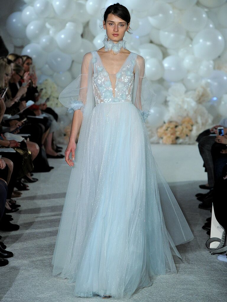 Mira Zwillinger Spring 2018 Powder Blue V Neck Tulle Caviar Beaded And  Appliquéd Bodice With